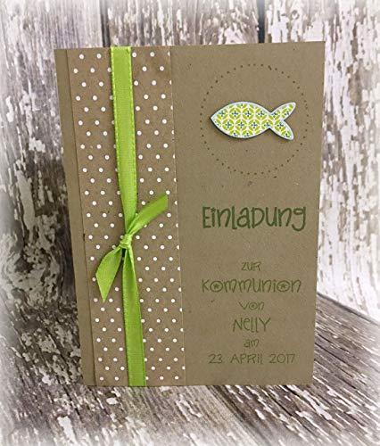 Einladung Einladungskarte Kommunion Konfirmation Punkte Fisch personalisierbar Kraftpapier braun grün