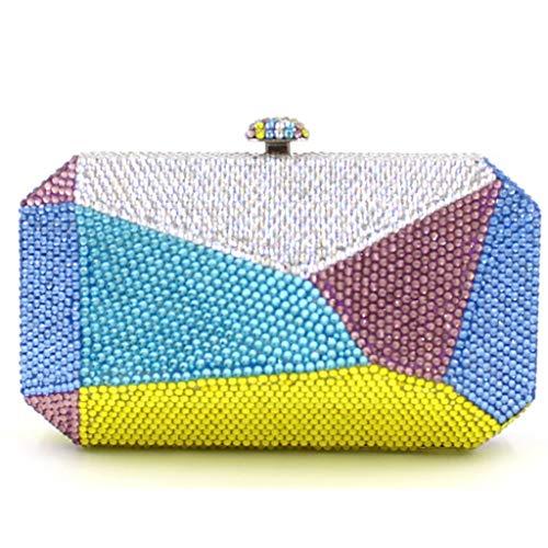 Frauen bankett umhängetasche abendtasche unregelmäßige eisen box kristall handtasche damen high-end kleid handtasche (Color : A, Size : 17 * 6 * 10CM)