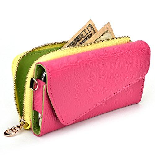 Kroo d'embrayage portefeuille avec dragonne et sangle bandoulière pour Asus ZenFone 5A500KL Green and Pink Magenta and Yellow