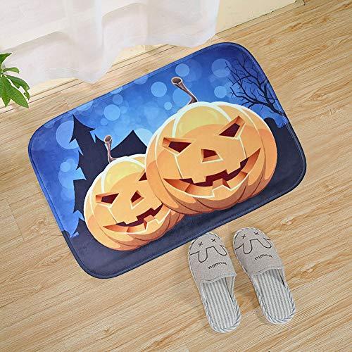 Mimgo-shop Stilvolle Halloween-Fußmatte für drinnen und draußen, Dekoration für Halloween, Rutschfeste Gummi-Unterseite, Fußmatte, 60 x 40 cm Two Big Pumpkins (Thema Heißes Halloween)