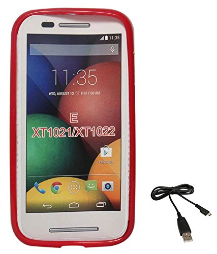 DMG Flexible Soft Glossy TPU Back Cover Case for Motorola Moto E XT1022 (Red) + Data Cable