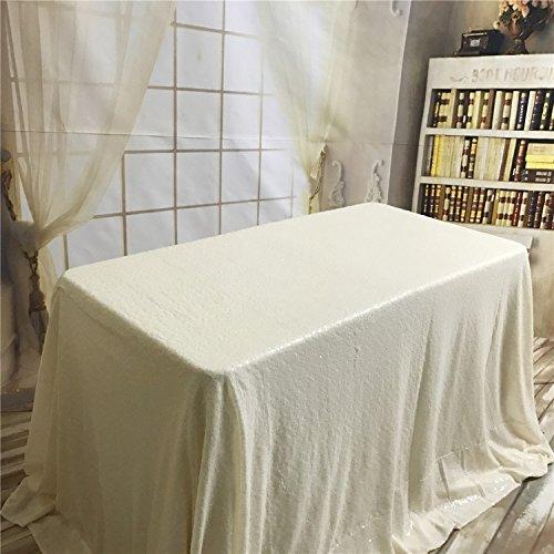 ke mit Pailletten, rechteckig, 90 x 156 cm, elfenbeinfarben, 50x50-Inch ()