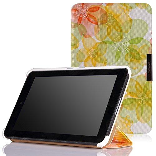 MoKo Dell Venue 7.0 Hülle Case - Ultra Slim Schutzhülle Cover Premium PU Leder Folio Etui Tasche Schale Smart Cover für Dell Venue 7.0 3740 Android Tablet,Blumen-GRÜN