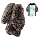 Coque iPhone 5 5S SE Lapin Peluche Fourrure Marron Mignon Kawaii 3D Oreille Étui de...