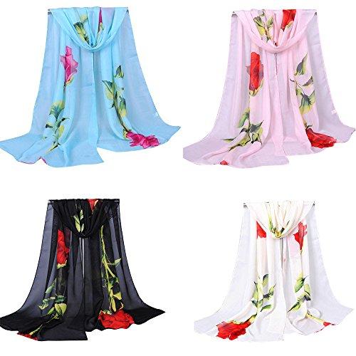 Lishy New Fashion Ladies Chiffon Scrawl Rose Flower Long Soft Lightweight Wrap Scarf for Women