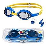 KidSwim, occhialini da Nuoto per Bambini (età 4 - 12 Anni), occhialini da Nuoto Impermeabili con Lenti Anti Appannamento e Cinturino in Morbido Silicone