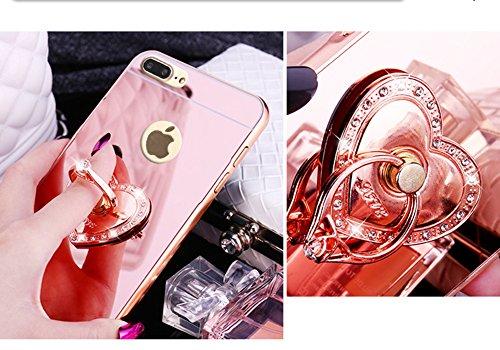 iPhone 8 Plus Hülle,iPhone 7 Plus Hülle,SainCat Luxus Bling Glänzend Glitzer Spiegel Hülle [Weiche Metall Rahmen + Hart PC Rückdeckel] Mirror Effect Spiegel Schutzhülle [Glitzer Diamant Square Ring Fi Liebe-Roségold