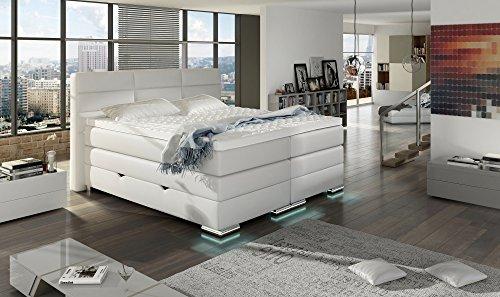 XXL ROMA Boxspringbett mit Bettkasten Designer Boxspring Bett LED Schneeweiss Rechteck Design (Schneeweiss, 200x200cm)