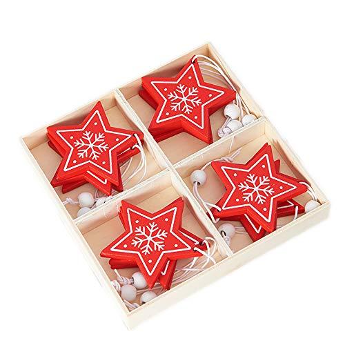 Jingle Star Weihnachtsbaumschmuck Holz in Stern/Baum/Engel/Hirsch-Form mit Schnur Weihnachtsanhänger Rot Weiß 12-teiligesn in Holzbox Geschenkbox Set,Weihnachtsdeko für Baum und Fenster Außen