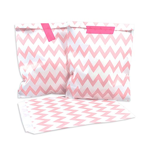 100-frau-wundervoll-papiertuten-rosa-zacken-chevron-vorteilsmenge-geschenktuten-candy-paper-bags