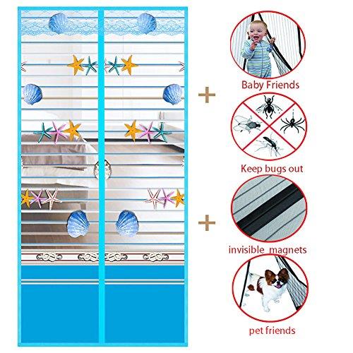 Zanzariera magnetica, heavy duty velcro magnetico zanzariera tenda schermo cut-off crittografia tenda della maglia soggiorno tiene le zanzare fuori-blu 80x190cm(31x75inch)