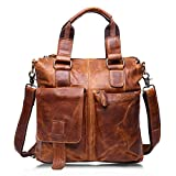 HWX New Leisure Vintage Satchel Aktentasche aus Leder , Mode Leder Schulter Messenger Portable Pendeln Business Weekend Geschäftsreise für Männer & Frauen (Farbe : Gelb, Größe : 31cm*30cm*8cm)