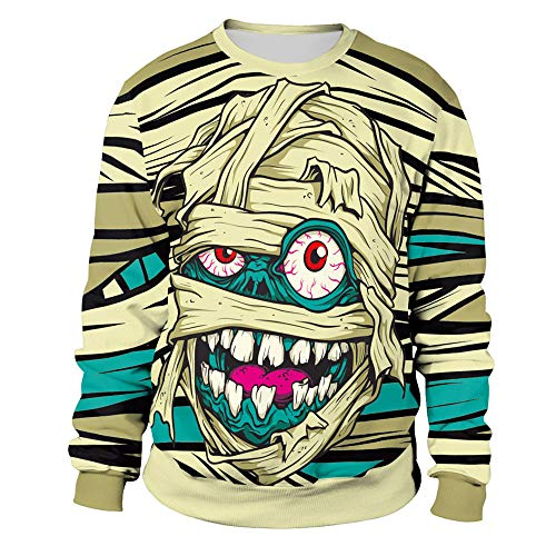 Fratze Machen Kostüm - LOPILY Halloween Skelett Kostüme Damen Vampir Sweatshirts Gruselige Sweatshirt 3D Hoodie Gespenst Tshirt Halloween Blutspur Tops Damen Printed Pullover Damen Halloween Party Shirt (Gelb, 42)