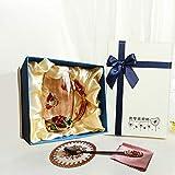 Goaeos Mama Teetasse Kaffeetasse Tassen Klarglas mit Löffel Set einzigartige Rose Blume Emaille Design Valentinstag Geburtstag Dekoration Hochzeitsgeschenk (Rot Hoch+Geschenkbox)
