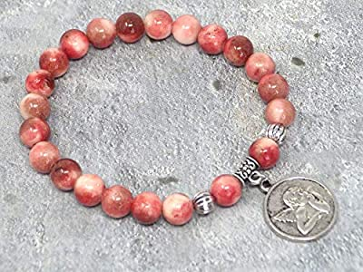 Bracelet heaven small pour femme, en jade naturelle avec médaillon représentant un ange.