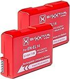 2X Baxxtar Pro Akku für EN-EL14 EN-EL14a (1100mAh) Intelligentes Akkusystem für D3100 D3200 D3300 D3400 D3500 D5100 D5200 D5300 D5500 D5600 usw.