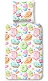 Aminata Kids - Kinder-Bettwäsche-Set 135-x-200 cm Donut-s-Motiv Cupcake-s 100-% Baumwolle Weiss-e hell-Gruen-e rosa