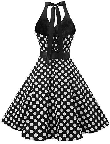 Dressystar 50er Rockabilly Kleid Vintage Neckholder Retro Punkte Swing Knilang Partykleider Ärmellos Black White Dot B