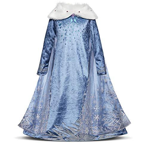 QSEFT Mädchen Kostüm Schnee Königin Prinzessin Kleid Halloween Kostüm Schneeflocke Kostüm Nettes Mädchen Party Weihnachten Kleid Kleidung 3-8 Jahre,120Cm