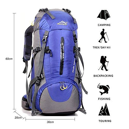 YTAT 50L Zaino da Trekking, Outdoor Donna e Uomo Multifunzione Impermeabile per alpinismo arrampicata equitazione ad Alta borsa da viaggio, Escursioni Campeggio Viaggio Arrampicata Zaino con Copertura della Pioggia (blue)