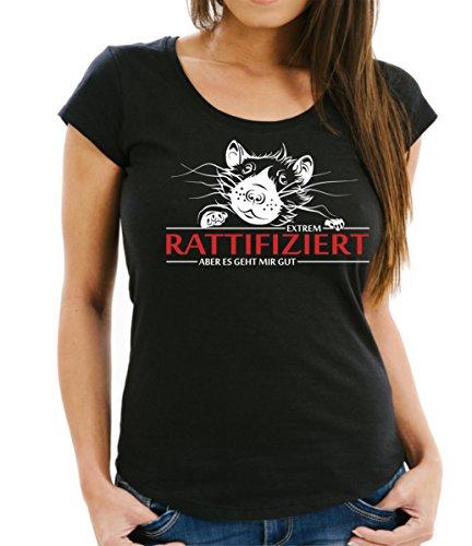 Womens Schwarzen Ratte (Siviwonder Infiziert Ratte Rattifiziert Ratten Rat - Women Girlie T-Shirt Black M - 36)