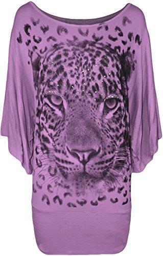 Blusa da donna, con stampa di tigre, con brillantini, taglia 46-64 Lilac