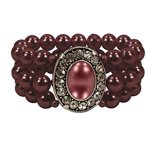 Alpenflüstern Perlen-Trachten-Armband Sissi - Damen-Trachtenschmuck, elastische Trachten-Armkette, Perlenarmband mehrreihig dunkel-rot-bordeaux DAB033