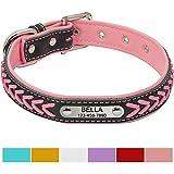 Vcalabashor Hundehalsband mit Namen und Telefonnummer,Hundehalsband Anh?nger mit Gravur,Hundehalsband Leder,XL 46-56cm,Pink