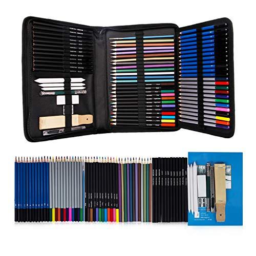 Buntstifte Set, Hakkin 71er Aquarell Buntstifte Set Buntstifte Colored Pencils mit Black Case für Kinder und Erwachsene für kreatives Malen