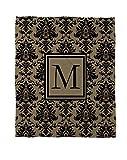 Manual carpinteros y tejedoras Coral polar manta, 30por, letra M, negro y oro de Damasco con el monograma de 40pulgadas