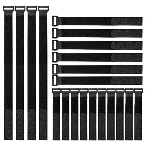 Honyear 25 Stück wiederverwendbare Klett-Kabelbinder, kabelbinder Klettverschluss, 3 verschiedene Längen, universell einsetzbar, schwarz - Entertainment 3 Center Stück