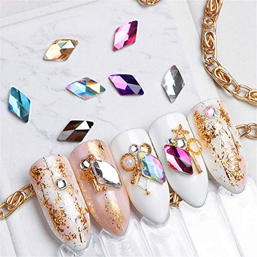 NICOLE DIARY 80 pièces brillantes AB strass dos plat avec pince à épiler diamants lasergraphiques gemmes ongles embellissements décorations de pierres précieuses pour les fournitures