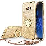 OCYCLONE Cover Samsung Galaxy S8 Glitter Strass per Ragazze,Neck Strap e Kickstand Bling Silicone Diamante Brillante Cristallo Lucciante Luminosa Custodia per Samsung Galaxy S8 - Oro
