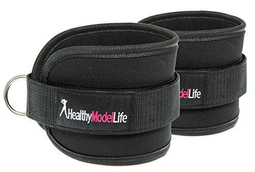 Fußschlaufen Von Healthy Model Life (2 Stück) - Manschette Knöchel Zum Fitness Training Am Kabelzug - Speziell Für Frauen - Inklusive Aufbewahrungstasche