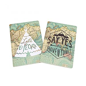 CGB Giftware The Great Outdoors – Juego de 2 libretas a rayas (Talla Única/Mapamundi)