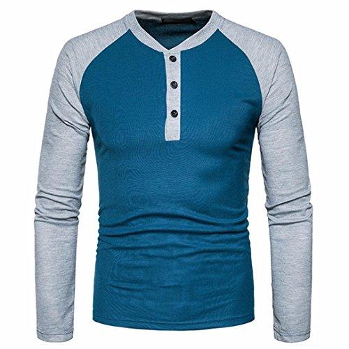 Sweatshirt Herren Longra Herren Kontrast Shirt Langarmshirt Mischfarbe Urban Basic Reguläre Longsleeve T-Shirt Männer Super Premium Langarm T-Shirt (XL, Blue)