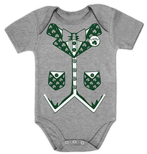 Tuxedo Grün Shirt Kostüm - Green Turtle T-Shirts Irish Lucky Tuxedo süßes Motiv Baby Body Kurzarm-Body 6M Grau