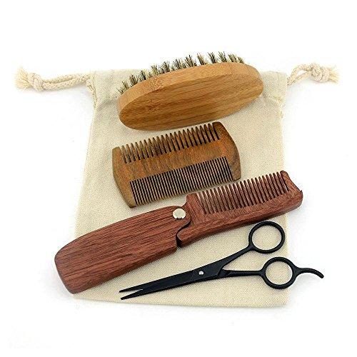 Juego de cepillo y peine para barba, para hombres–4piezas, cepillo de barba con cerdas de jabalí y peine de madera hecho a mano. El mejor cuidado para tu bigote, que añade brillo y suavidad