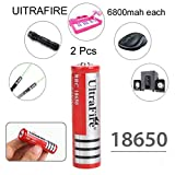 Schrodinger15 70052 UITRAFIRE Button Top 2pcs/Order 18650 Rechargeable Battery 3.7V Lithium Ion 6800