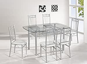clear glass dining table with under storage shelf 4 cream chairs