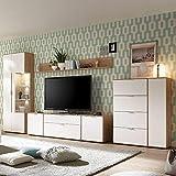 Pharao24 Wohnzimmer Wohnwand in Weiß und Eiche 370 cm LED Beleuchtung Energieeffizienzklasse LED