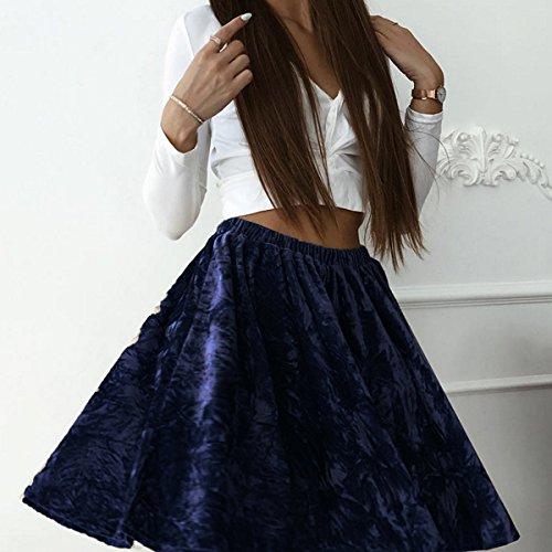Donnagelia Damen Mädchen kurze Samt Rock Hohe Taille A-line Elegant für Herbst Frühling Winter Blau