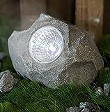 LED Solar Lampe Stein Gartenbeleuchtung 13 x 9 cm mit Dämmerungssensor