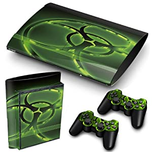 PS3 Super Slim Playstation Haut-, PVC für Konsole + 2 Controller / Pads Aufkleber-Schutz-Abdeckung Art Leather Effect Biohazard Radioactive
