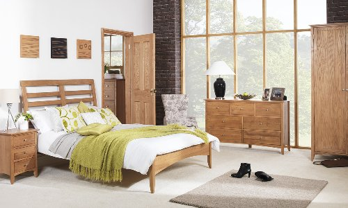 Edward Hopper oak double bed 4ft6, Oak double bed frame with wooden slats, Partially Assembled