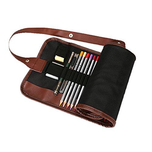 BADALink Estuche Portalápices de Tela Lona Estuche Escolar con PU Pencil Wrap Envuelta Estilo para Guardar lápices Plumas para Estudiantes