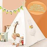 Peradix Tenda da Gioco Indiana per Bambini, Tenda Teepee Pieghevole con Finestra, Tappeto, Bandiere Decorative, Borsa da Trasporto per attività all'perto ed al Coperto