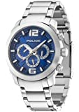 Police Triumph Men's Quartz Watch with Blue Dial Chronograph Display and Silver Stainless Steel Bracelet 13934JS/03M