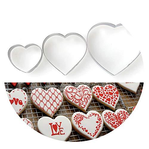 Set di 3 stampini per biscotti a forma di cuore, strumenti per decorare torte, pasta di zucchero, caramelle, cupcake, biscotti
