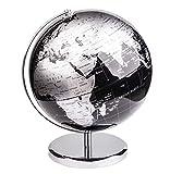 Exerz 25CM Globo Terráqueo - en Inglés - Decoración de escritorio educativa/geográfica/moderna - Con una base de metal - Negro Metálico (Diámetro 25cm)